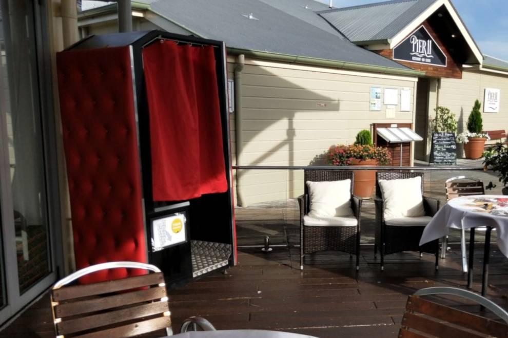 Red Enclosed Photo Booth Hire Sunshine Coast